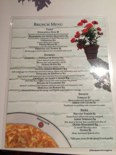 Carta del Brunch en el Restaurante Andanada Nueva York