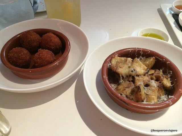 Croquetas y Alcachofas Gratinadas del Restaurante Andanada Nueva York
