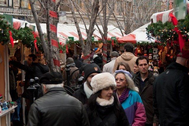 Mercadillo de Union Square en Navidad
