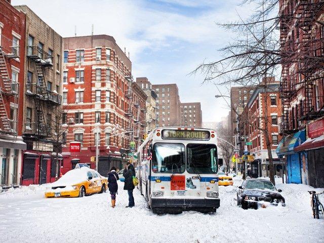 Un día de nieve en Nueva York es una buena oportunidad para sacar fotos originales.
