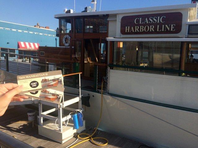 Las entradas para nuestro paseo en el Classic Harbor Line