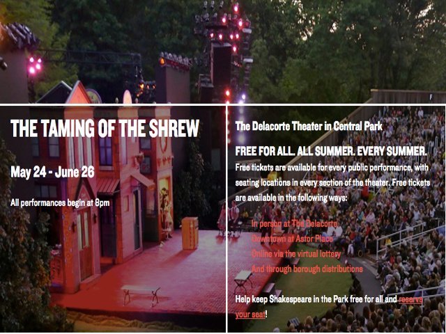 Esta semana en Nueva York Shakespeare in the Park
