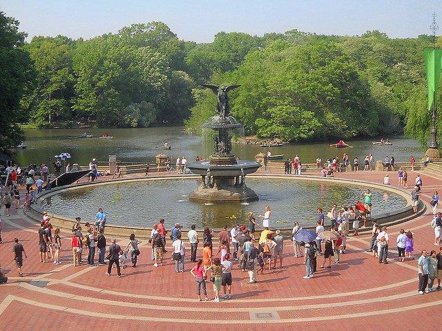 Fuente Bethesda en Nueva York en julio