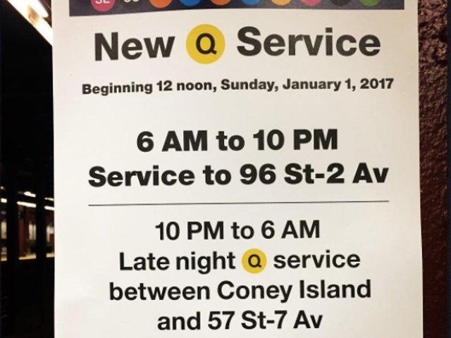 Nueva servicio de la línea Q en Nueva York
