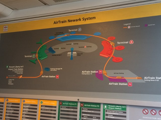 11 Mapa paradas del Air Train Aeropuerto de Newark