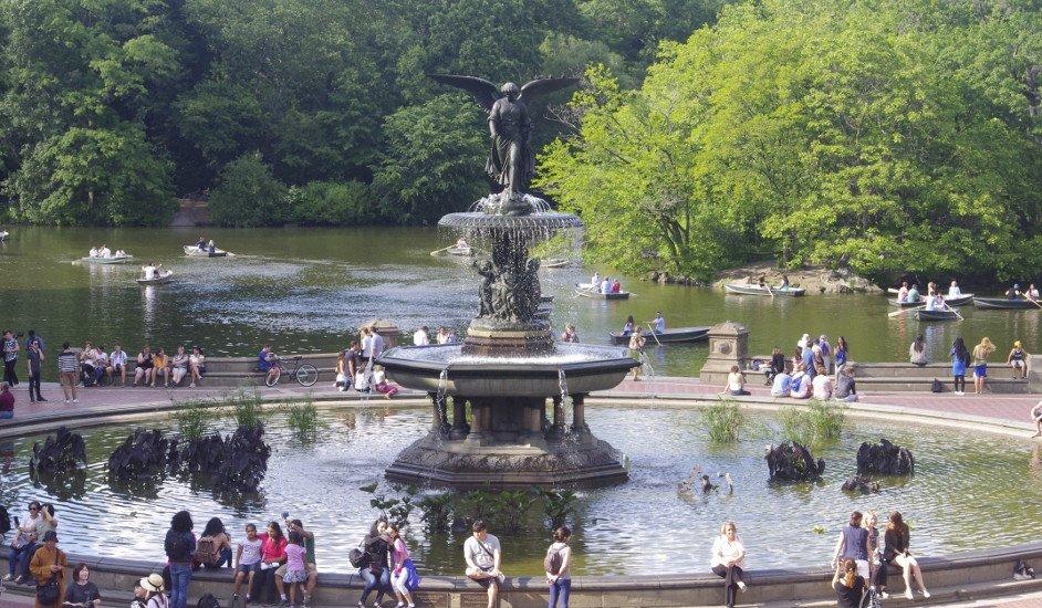 Central Park sin coches en la Fuente Bethesda