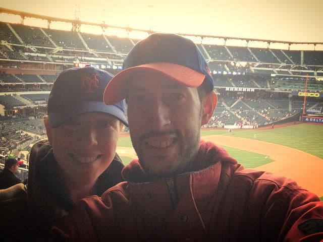 Abby y Pedro en un partido de los Mets